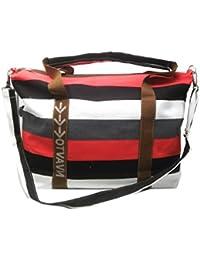 Di Grazia Women's Italian Stripes Tote Handbag (Red Blue, Red-Blue-Striped-Tote)