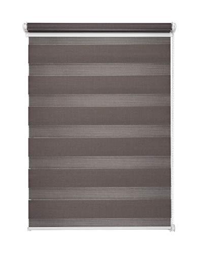 Doppelrollo Duorollo Grau 120x150 cm ohne Bohren Seitenzug Klemmrollo