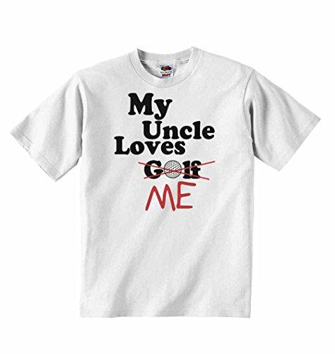 My uncle loves me not golf–t-shirt per bambini con scritta personalizzata tee abbigliamento unisex t-shirt–bianco–3–6mesi