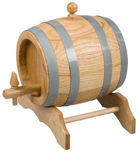 Hofmeister Holzwaren - Barile in legno di rovere non verniciato, 10 l, inclusi tappo, rubinetto e cavalletto