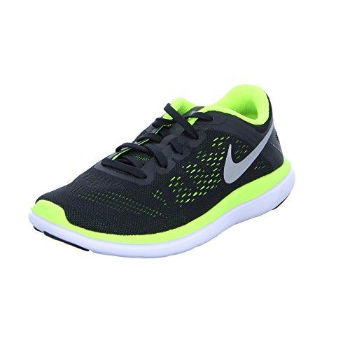 Nike Herren Flex 2016 Rn (Gs) Laufschuhe, Black (Black (Schwarz / Silber-Metallic-Volt-Weiß)), 39 EU