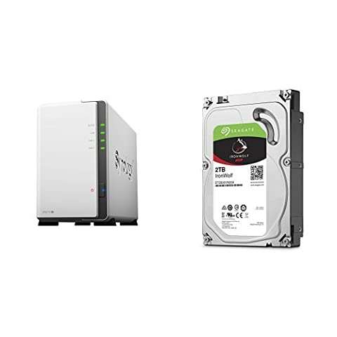 Synology DS216j 2-Bay Desktop NAS-Gehäuse, inklusive 2 x Seagate IronWolf 2 TB, ST2000VN004, interne Festplatte, 8,9 cm (3,5 Zoll), 64 MB Cache, 5900 RPM, SATA 6Gb/s, (4 TB)