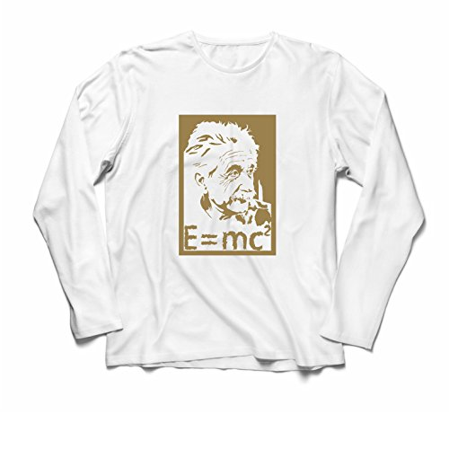 lepni.me Herren T Shirts Physikwissenschaftler Albert Einstein, Geschenk für Wissenschaftsliebhaber (Medium Weiß Gold)