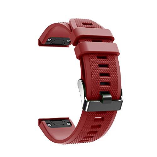 Preisvergleich Produktbild Feitb TPU-Silikonband,  stylisches Ersatzband,  weiches und tragbares Armband,  schwarze Schnalle,  13 Farben optional für Garmin Fenix 5 / 5 Plus Smart Watch (rot)