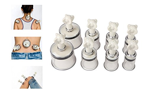 8 Stück Schröpfköpfe mit Gewinde Saugglocke Schröpfen Set Cupping Set Profi Vakuum Massage zu Hause