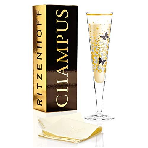 RITZENHOFF Champus Champagnerglas von Burkhard Neie, aus Kristallglas, 200 ml, mit edlen Gold- und Platinanteilen, inkl. Stoffserviette