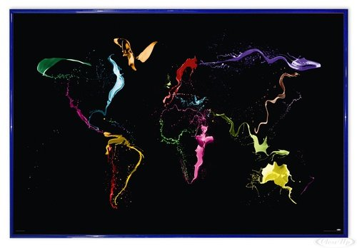 Thrown Paint World Map Poster Michael Tompsett Weltkarte (63,5x94 cm) gerahmt in: Rahmen blau - Michael Tompsett Weltkarte