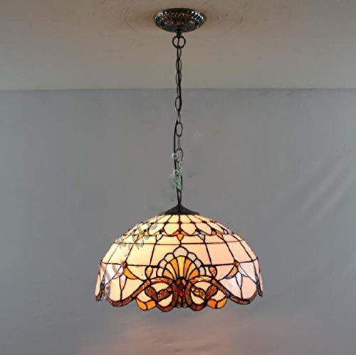 Tiffany Style - Accesorio colgante de techo de 2 luces victoriano, Lámpara colgante de cadena de chasis de metal con pantalla de vidrio de color de 16 pulgadas, 110-240V / E27 / E26 multicolor,A