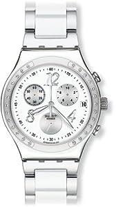 Reloj Swatch IRONY CHRONO de mujer de cuarzo con correa de acero inoxidable blanca (cronómetro) - sumergible a 30 metros de Swatch
