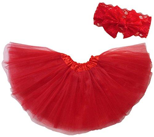 Dancina Mädchen Tüllrock Ballettrock Classic m. passendem Haarband Rot Classic 2-4 Jahre