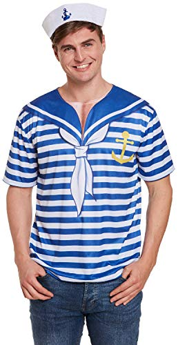 Dorfbewohner Kostüm - Fancy Me Herren-Kostüm Seemannschaft Seemannschaft Seemannschaft Junggesellenabschied, Party-Kostüm