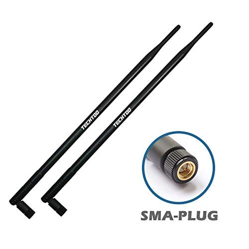 TECH TOO 9dBi Omnidirektionale WLAN-Antenne mit SMA-Stecker (SMA-J) Anschluss für Foscam IP-Kamera und andere drahtlose Sicherheitskameras, 2,4 GHz kabelloses Netzwerkgerät (2 Stück)
