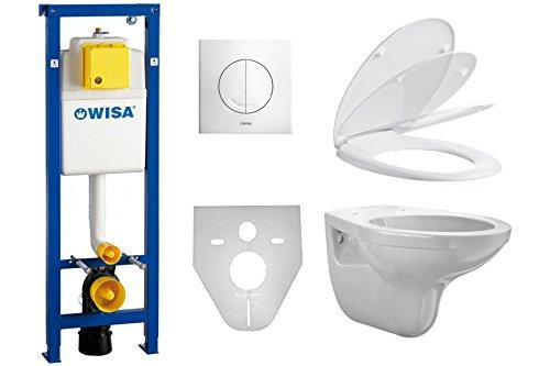 WC-Vorwandelement SET WISA Excellent XS BB 38 + Marken WC Keramik + Platte weiß + WC Sitz Absenkautomatik