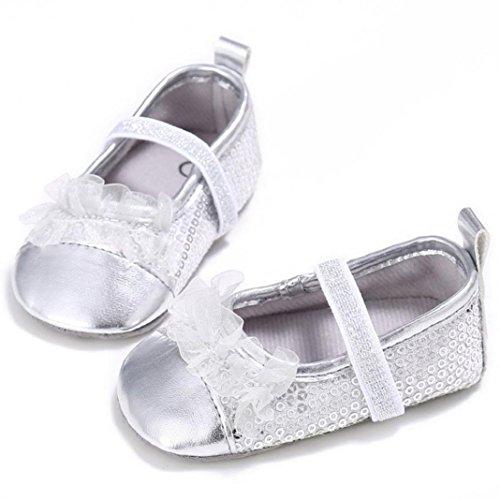 San Bodhi , Baby Mädchen Lauflernschuhe Silber