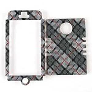 Cell Armor Rocker Snap-On Case for iPhone 5 - Retail Packaging - White and Gray Plaid