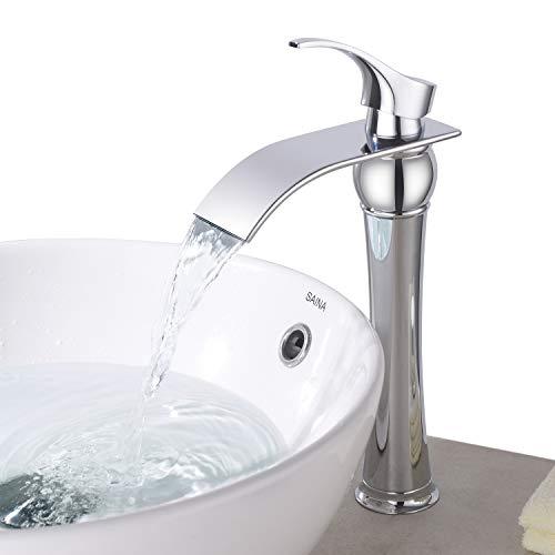 BONADE Hoher Auslauf Einhebel-Waschtischarmaturen Wasserfall Wasserhahn Armatur Bad für Badezimmer Waschbecken, 59 Kupfer, Chrom