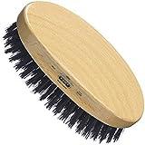 Kent Finest Men's Range Military Style Oval Beech Wood Natural Bristle Brush  Black