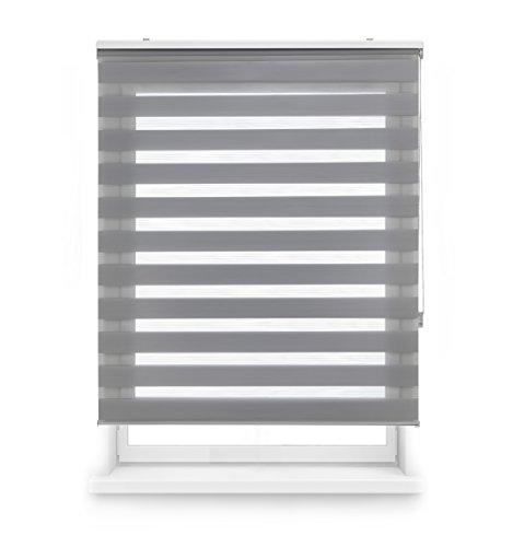 Blindecor Estor Enrollable Doble Tejido Noche Y Día, Tela, Gris, 100 x 180 cm