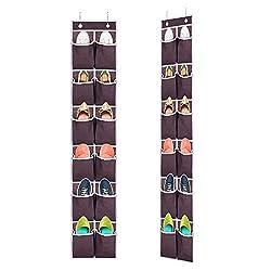 Ecbrt 2 Packs Shoe Organiser Over the Door, 12 Large Hanging Shoe Storage Holder with 4 Metal Hooks, Pockets Back Door Shoe Holder for Space Saving, (Kaffee)
