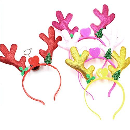 Neue Gold Pulver Weihnachten Geweih LED Farbige Lichter Haarband Flashing Glow Stirnband Krone Herz Leuchten Stirnbänder Haarschmuck Glow Party Supplies Geeignet Jeder