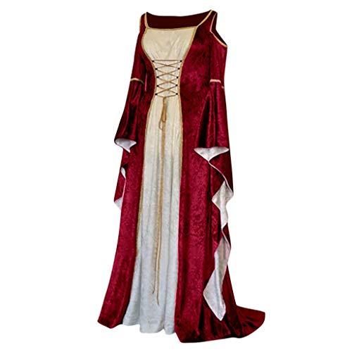 Retro Kostüm Zumba - Damen Langarm Mittelalter Kleid Gothic Retro Kleid Renaissance Cosplay Kostüm Prinzessin Kleid Lange Abendkleid Gebunden Taille Maxikleid Übergröße Kleid Weihnachts Karneval Party