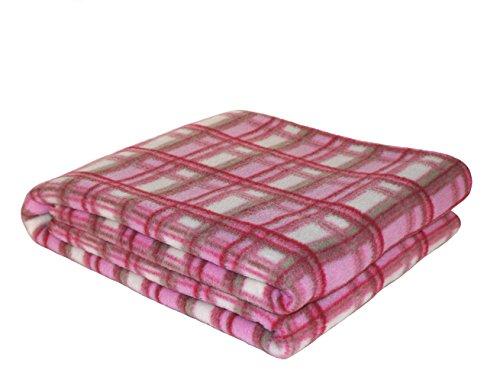 Fleece Throw Dog Scottie Pattern White Blanket Roll 120x150cm Pink Or Brown Comfortable Feel Home & Garden