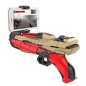 AR Game Gun, VOTTAU Portable Pistolet de Jeu Virtuel pour téléphone portable 360 ° Réalité Augmentée AR Bluetooth Contrôleur de Jeu pour IOS Android, Soutien Double Bataille