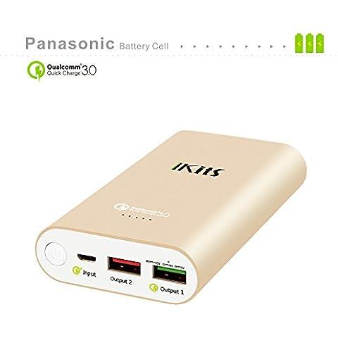 iKits [Qualcomm Certificado] Celular Panasonic batería de carga rápida 3.0 Banco de energía portátil cargador externo de la batería 10200mAh con la entrada: QC3.0, Salida: 2.4A + control de calidad para el iPhone / iPad, Samsung y más oro