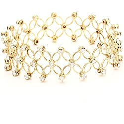 Shining Diva Stretchable Gold Colored Austrian Diamond Studded Bracelet For Women
