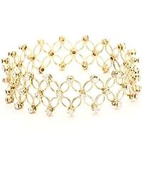 Shining Diva Stretchable Gold Colored Austrian Diamond Studded Bracelet for Women(rrsd5686b)