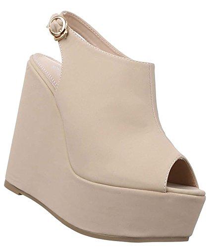 Damen Pumps Schuhe Keilabsatz Sandaletten Wedges Plateau Schwarz Beige Rosa 36 37 38 39 40 41 Beige