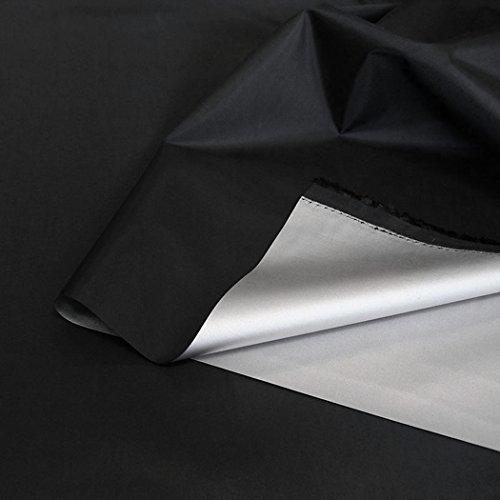 TOLKO Sonnenschutz Verdunklungsfolie/Verdunklungsstoff Meterware | hohe Lichtdichte mit Thermo-Beschichtung, als Fensterfolie, Verdunklungsvorhänge/Gardine oder Verdunklungsrollo (Schwarz) -
