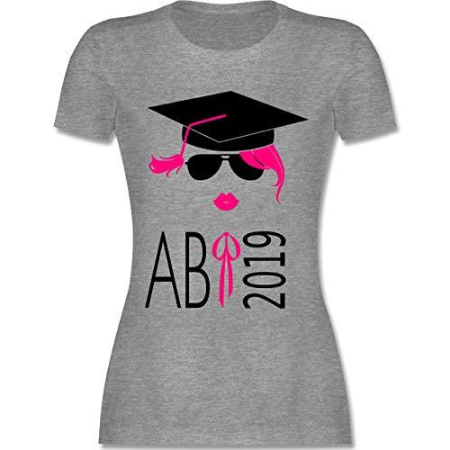 Abi & Abschluss - Hipster Abi 2019 Kussmund - S - Grau meliert - L191 - Damen Tshirt und Frauen T-Shirt