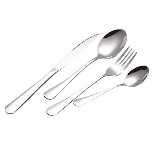 Rawdah* Couverts Haut De Gamme 4 Couteaux 4 PCS Ensemble Acier Inoxydable Upscale Vaisselle Couverts Couverts Fourchette Cuillère Cuillère à Café Couteau de Table (Argenté, Coffret Cadeau + Couverts)