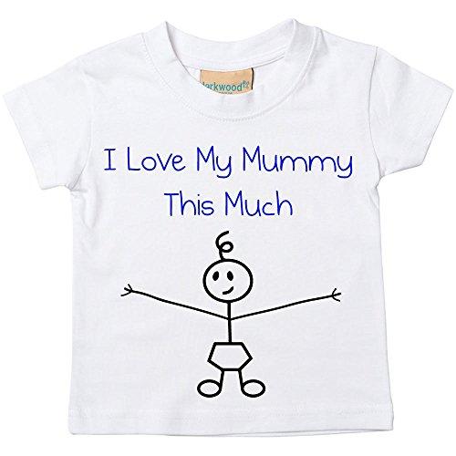 Garçons I Love My Mummy This Much T-shirt Bébé Tout-petit Enfants disponible en tailles 0-6 Mois pour 14-15 Ans Bâton De Fils Personne - Blanc, 7-8 ans