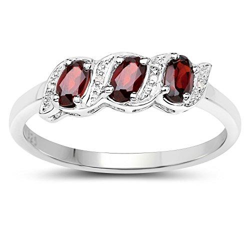 Diamant-Ring-Collection: Sterling Silber echter Granat und Ewigkeit Verlobungsring, Ringgröße 66 (Ring Ewigkeit Silber Granat)