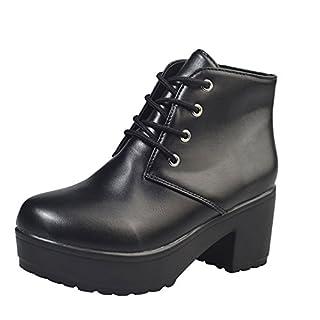 Damen Stiefeletten Boots High Heel Schuhe Mode Ankle Flache Oxford Leder Freizeitschuhe Kurze Stiefel ((CN):39, Schwarz)