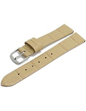 Meyhofer Uhrenarmband Pensacola 14mm beige Leder Clip-Anstoß Alligator-Prägung ohne Naht MyHeklb187/14mm/beige...