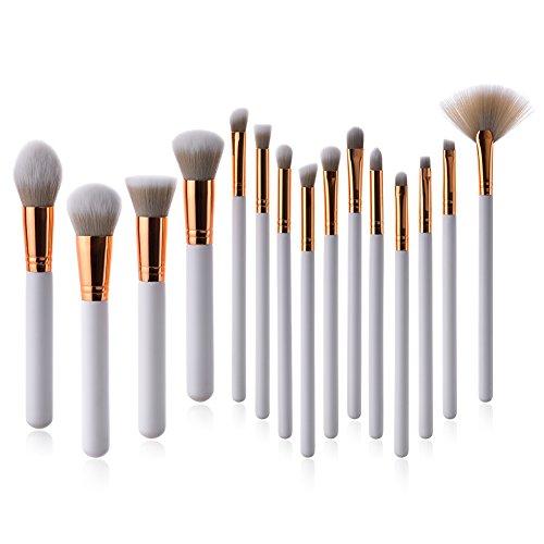Beatie 15 pcs Maquillage Professionnel Brosse de Poudre Fond de Teint Contour blending Fard à paupières Eyeliner Lip Brosse kit