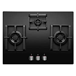 Elica Hob 3 Burner Auto Ignition Glass Top - 2 Big Triple Ring Brass Burner and 1 Small Double Ring Brass Burner (PRO RF 3B 70 DX FFD)