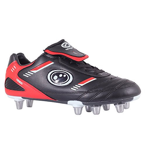 Optimum Tribal-RBTB, Herren Rugbyschuhe, Schwarz (Black/Red), 40 EU  (7UK) (Rugby-boot-schuhe)