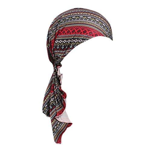 iShine Kopftuch Elastische Damen Bandana Islamischen Muslim mit Anhänger Fransen Stempel Stirnband Haarausfall Hut Krebs Chemo (Für Afrikanische Hüte Frauen)