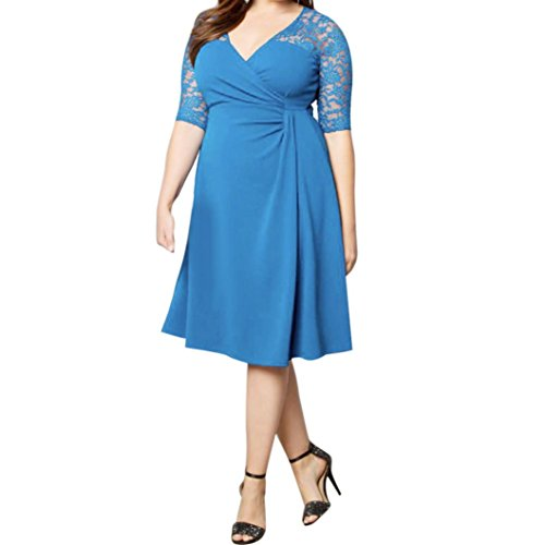 FEITONG Femmes Mode Dentelle Casual à encolure en V à manches courtes Robe Plus Size Bleu