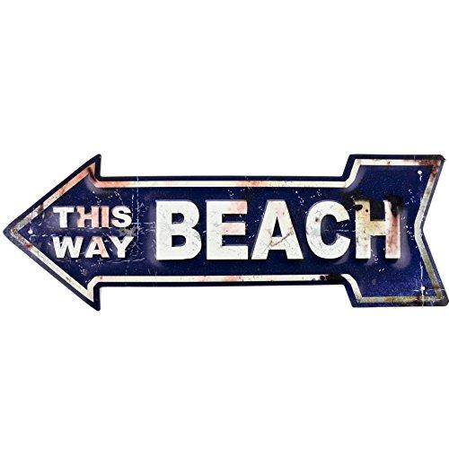 Dadeldo Living & Lifestyle Blechschild Pfeil Beach This Way Design Metall 14x40cm blau-creme Retro Nostalgie Sprüche Reklame