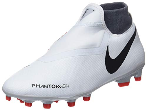 Nike obra 3 academy df mg, scarpe da calcetto indoor unisex-adulto, (pure platinum/black/lt crimson/dark grey 060), 38.5 eu