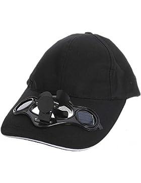 Bellecita Sombrero con Interruptor Solar Ventilador Tapa de Sombrilla(Negro)