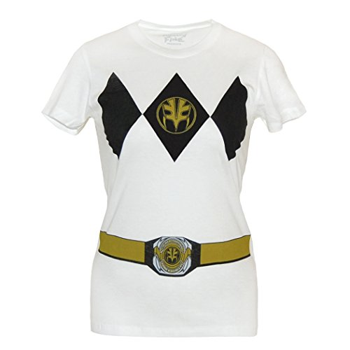 (Power Rangers Damens Weißer Ranger Kostüm Junior Wos T-Shirt-Junior Small [JS])