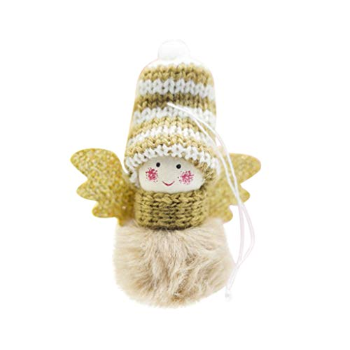 Engel Kostüm Mädchen Süße - WOBANG Weihnachten Deko - Christmas Weihnachtsbaum Weihnachten Dekoration Weihnachtsverzierung Kreative süße Plüsch Engel Mädchen Anhänger Mini Wollpuppe kleine Ornamente (Braun)