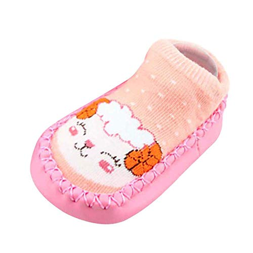 Missoul Born Toddler Baby Girls Boys Anti-Slip Socks Slipper Boots (A Pink) -