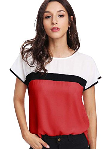 Romwe Damen Farbblock Tunika Kurzarm Sommer Locker Übergroß Shirt Bluse Rot L